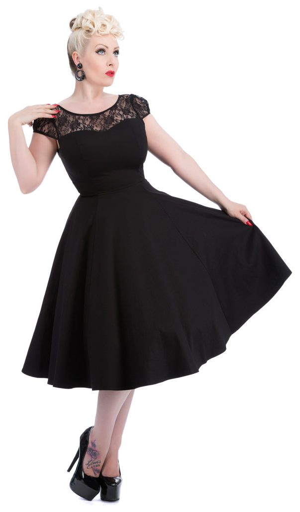 Black Mesh Lace Swing Dress