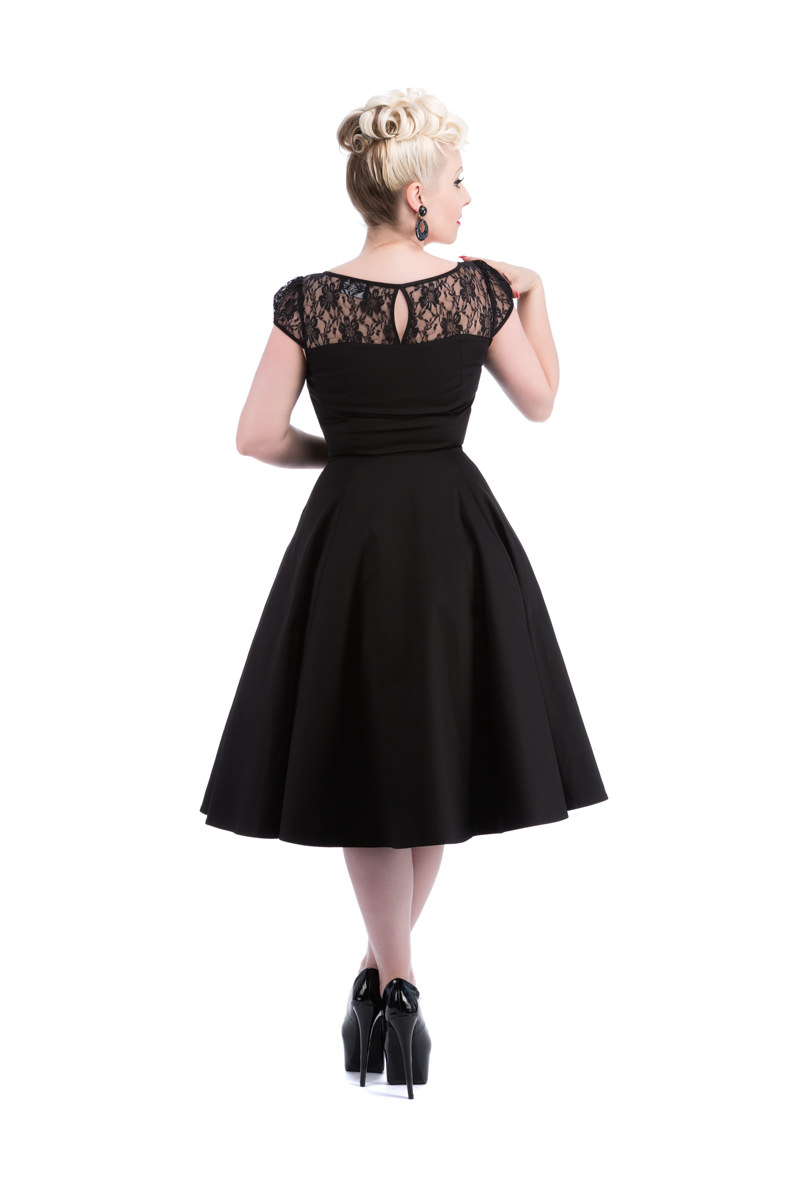Black lace mesh swing dress