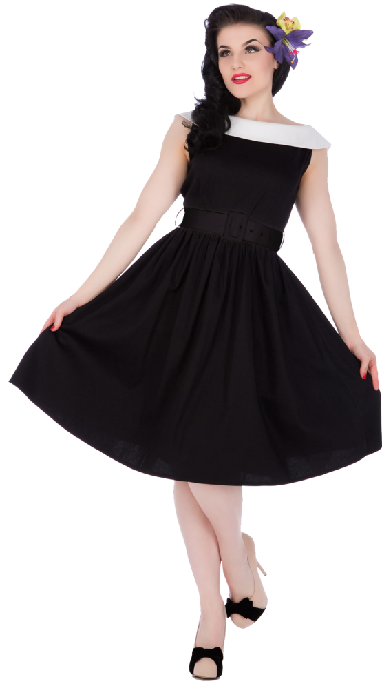 Cindy Sassy Swing Vintage Dress in Black with White collar and belt