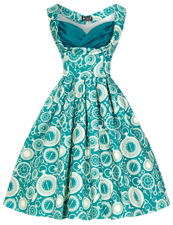 Teal Clocks Madison Dress
