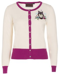 Kylie Owl Cardigan in white and pink