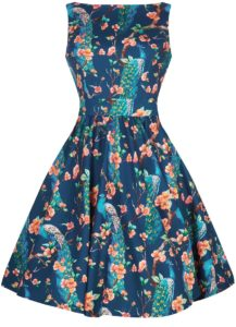 50s tea dress peacock