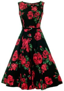 Red rose Hepburn tram dress