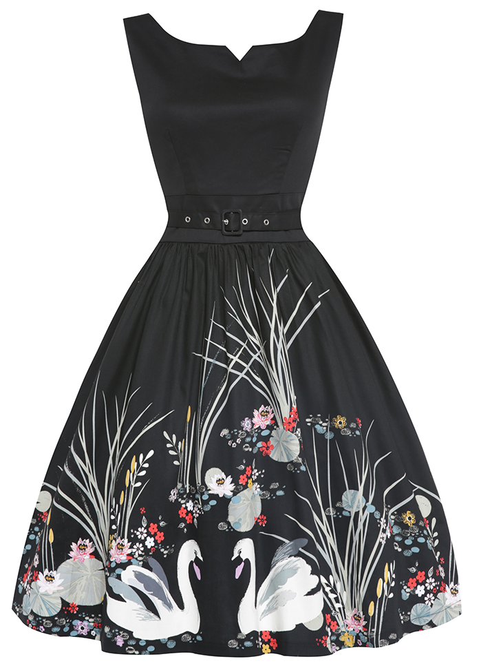 Delta Black Swan Border Swing Dress