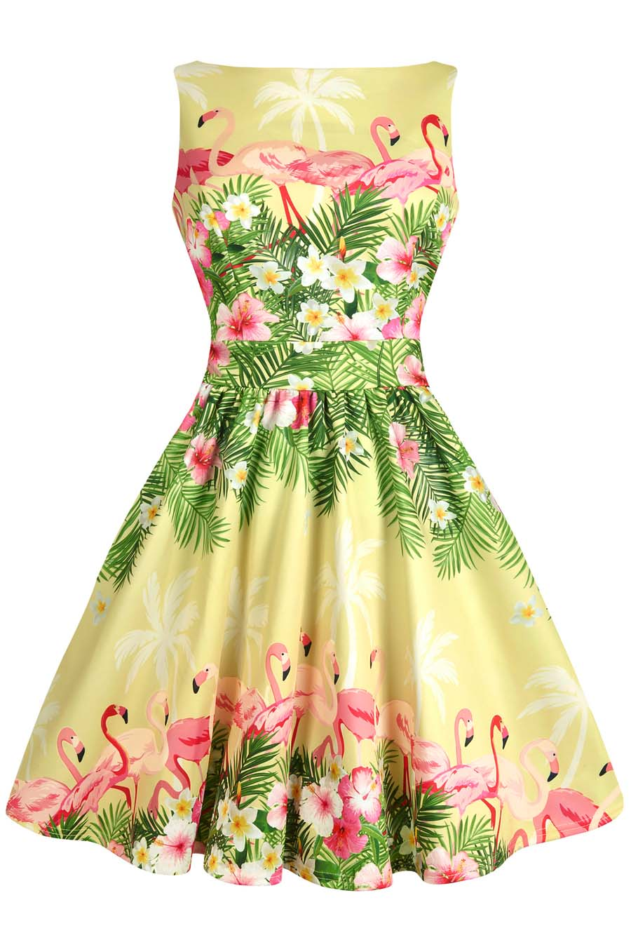 Flamingo Border Yellow Tea Dress