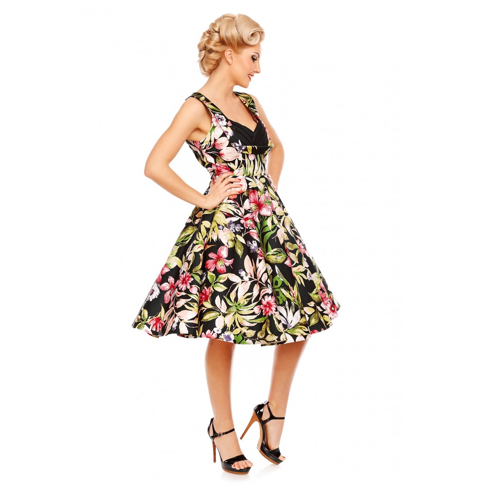 Grace Pleated 50's Style Swing Dress in Tropical