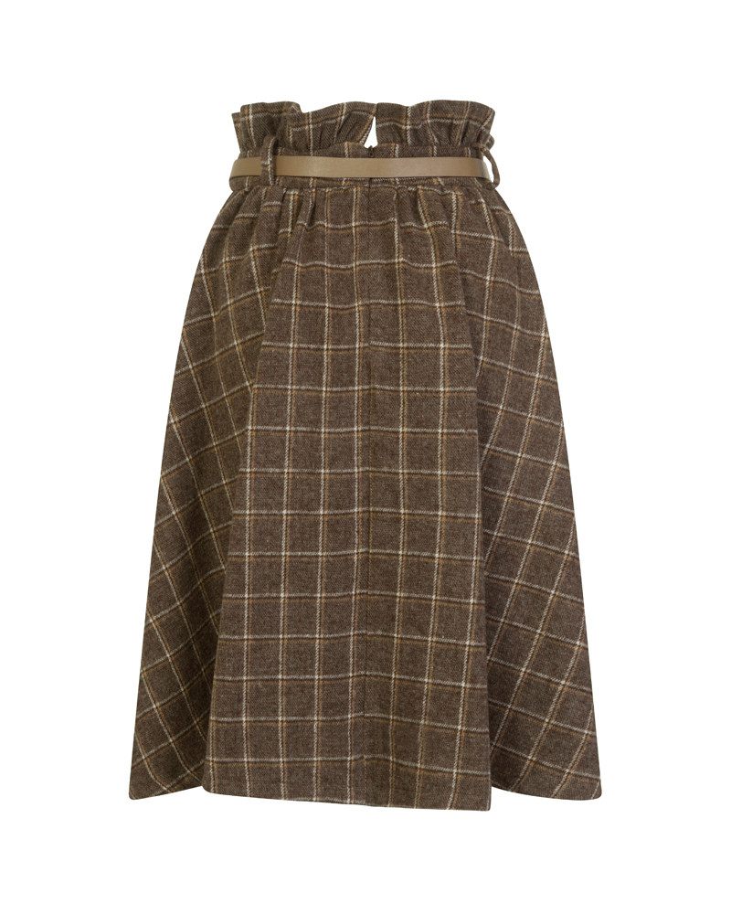 'Mally' Taupe Check Swing Skirt
