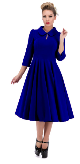Glamorous Velvet Tea Dress In Royal Blue