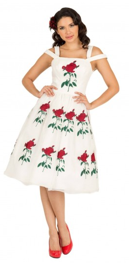 Bella White Rose Swing Dress
