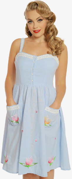 Corinna Light Blue Chambray Floral Embroidered Swing Dress