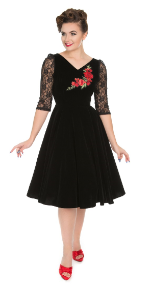 Divine Velvet Swing Dress In Black